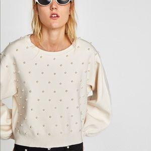 Zara Pearl Knit White Sweater Small